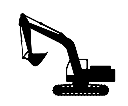 mover: The silhouette of the excavate on a white background.