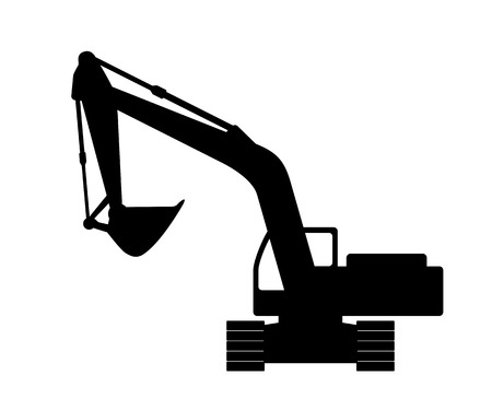 excavate: The silhouette of the excavate on a white background.
