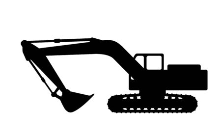 dredging tools: The silhouette of the excavate on a white background.