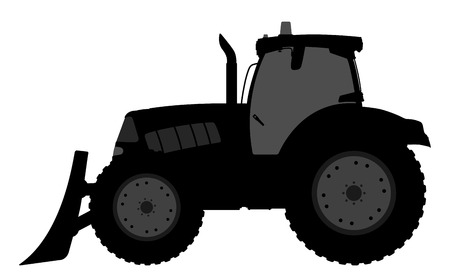 tractor: illustration of a silhouette of a tractor on a white background