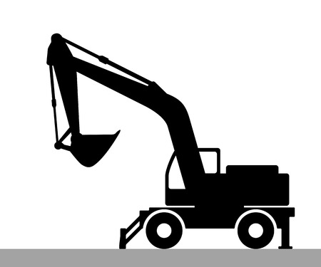 The silhouette of the excavate on a white background Stock Illustratie