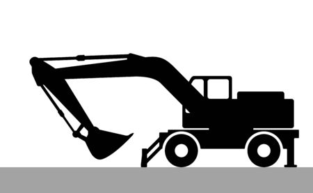 excavate: The silhouette of the excavate on a white background Illustration