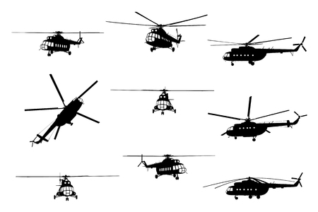 Vector illustration the silhouette of the helicopter. Stock Illustratie