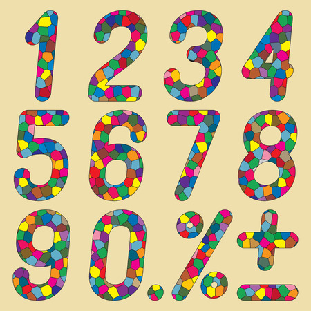 six point: Set of numbers of mosaics. Vector illustration. Illustration