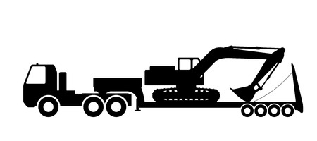 dredging tools: Silhouette of the excavator on the trawl. Vector illustration.