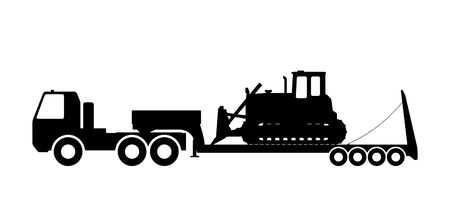 dredging tools: Silhouette of the tractor on the trawl. Vector illustration. Illustration