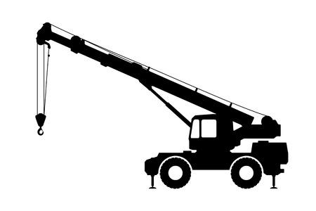 camion grua: Crane silueta sobre un fondo blanco. Ilustración del vector.