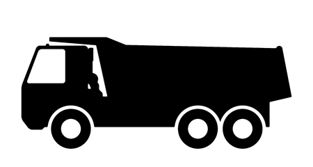 car loader: Silhouette of a dump truck on white background. Vector illustration. Illustration