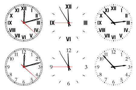 hull: Set watch isolated on a white background. Vector illustration.
