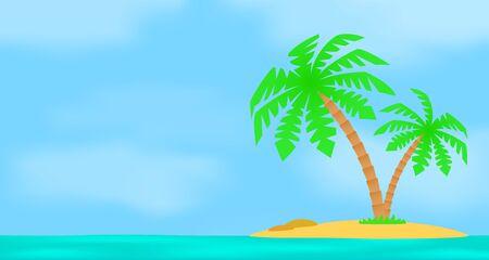 sea landscape: An island with a palm tree on a background of a sea landscape.