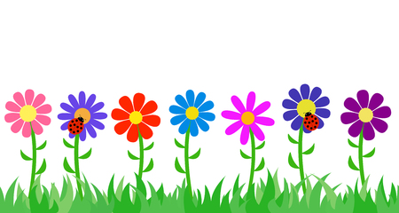 Seamless the grass and flowers. Vector illustration.
