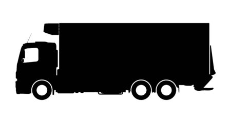 Silhouette of a truck on a white background. Vector illustration. Illustration