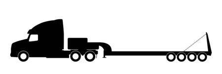 commercial painting: Silhouette of a truck with a trailer on a white background.