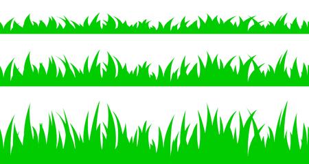 sward: Illustrazione vettoriale il set di seamless dell'erba. Vettoriali