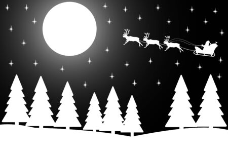 winter tree: Vector illustration the silhouette of Christmas night in the winter forest.