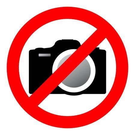prohibiting: Sign prohibiting use of camera. illustration. Illustration