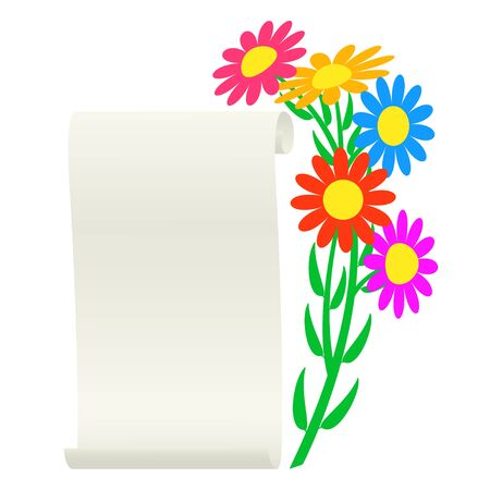 Bouquet of flowers and a scroll. Vector illustration. Illustration