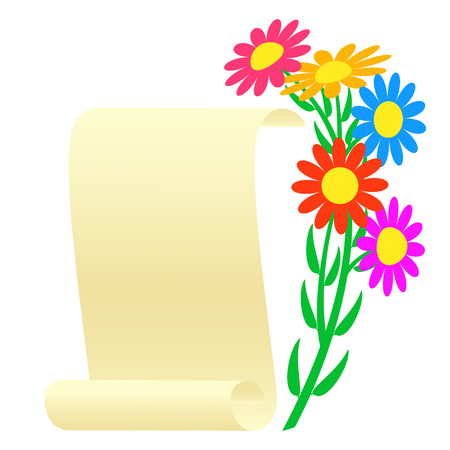 vellum: Bouquet of flowers and a scroll. Vector illustration. Illustration