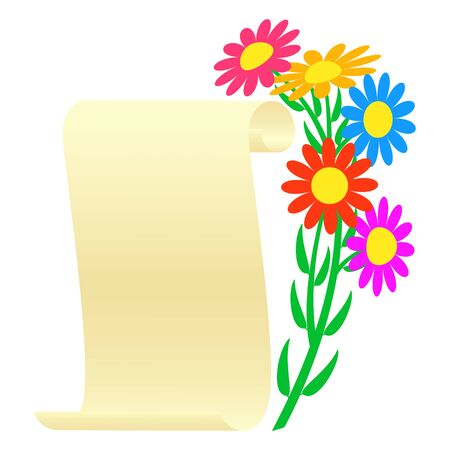 vellum: Bouquet of flowers and a scroll. Vector illustration. Stock Photo