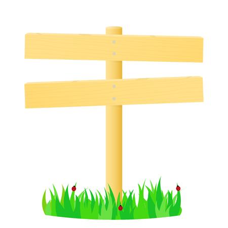 glade: Wooden pointer in the green grass. illustration. Illustration