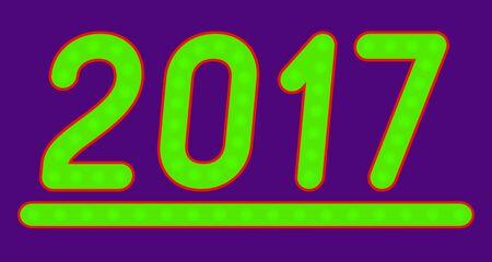 glistening: The inscription 2017 made of green lights. Vector illustration.