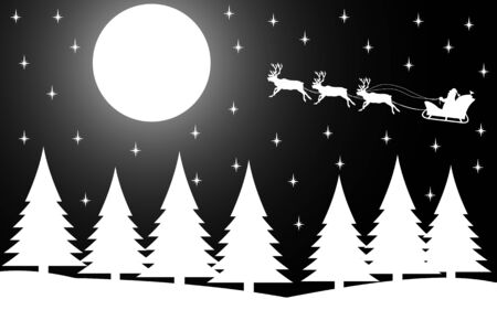 wintery: illustration the silhouette of Christmas night in the winter forest.