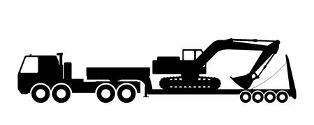 trawl: Silhouette of the excavator on the trawl. Illustration