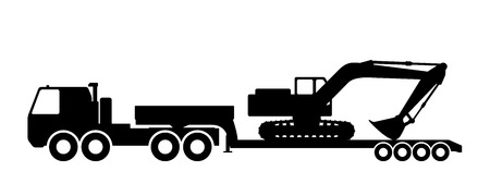 Silhouette of the excavator on the trawl. Illustration
