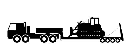 trawl: Silhouette of the tractor on the trawl. Vector illustration. Illustration