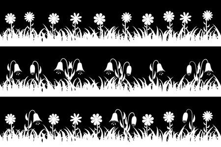 Définir sans soudure silhouette herbe et fleurs. Illustration vectorielle