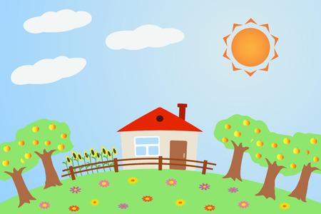 Illustration the rural landscape in summer. Illustration