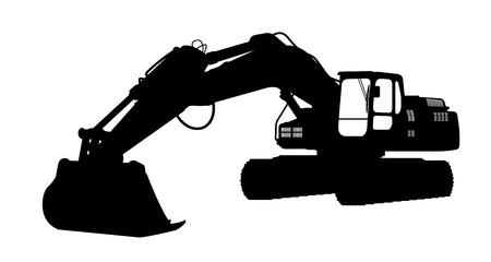 シルエット、excavate。  イラスト・ベクター素材