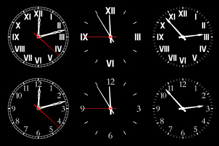 hull: Set watch isolated on a dark background.