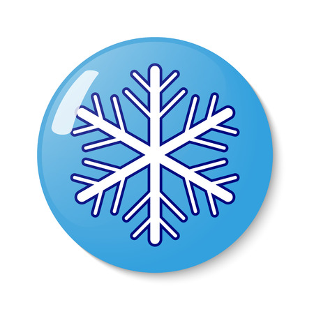 metrology: Button with snowflake emblem. Vector illustration.