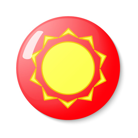 metrology: Button with the emblem of the sun. Vector illustration. Illustration