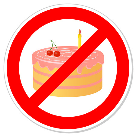 Birthday cake in prohibiting signs.