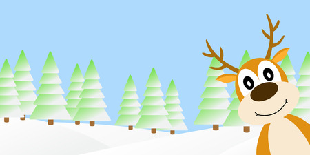 holiday: Vector illustration of deer in the winter forest.