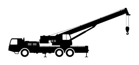 Crane Silhouette on a white background.