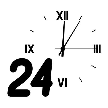 矢印の付いたダイヤルの背景に数 24。