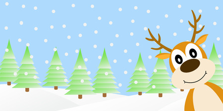 month: Vector illustration of deer in the winter forest.