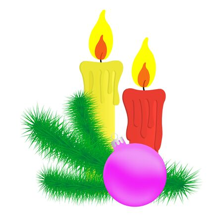Candles and Christmas branch