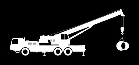 Crane Silhouette on a black background. Ilustração