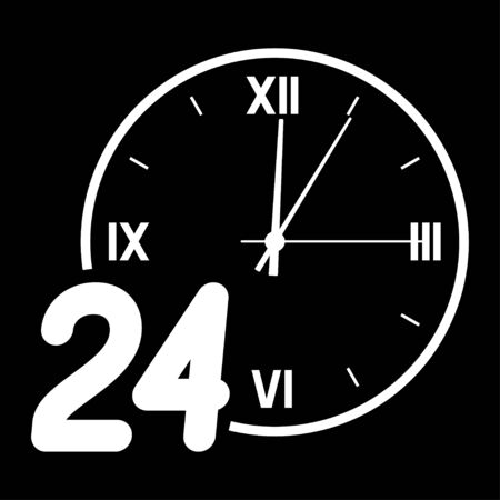 Number 24 on the background of the dial.