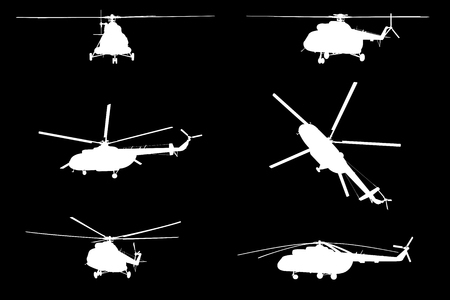 Vector illustration the silhouette of the helicopter. Ilustrace