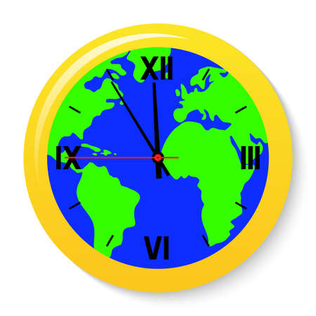 A clock with a world map on the dial.