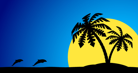 An island with a palm tree on a background of a sea landscape.
