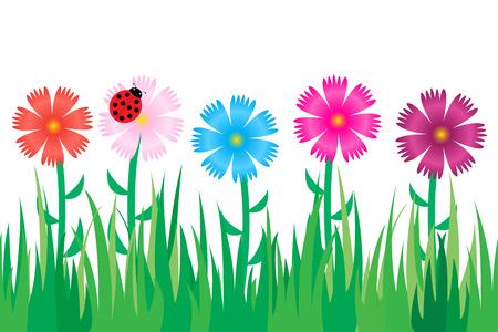 Sans couture l'herbe et les fleurs. Illustration vectorielle.