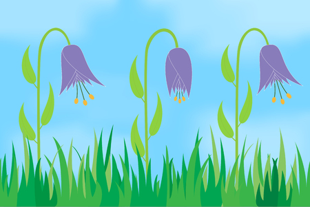 Flowers on the background of the sky. Vector illustration.