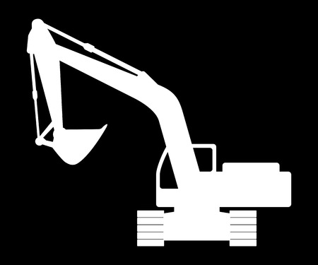 silhouette of the backhoe on a dark background. Vector illustration. Illustration