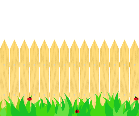 Grass in front of the fence icon. Illustration